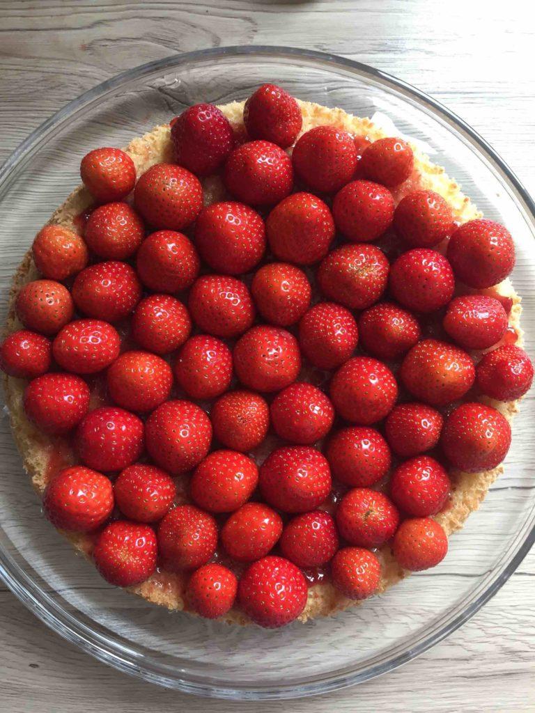 Es wäre kein Erdbeerkuchen, wenn der Biskuitboden nicht mit frischen Erdbeeren belegt werden würde.