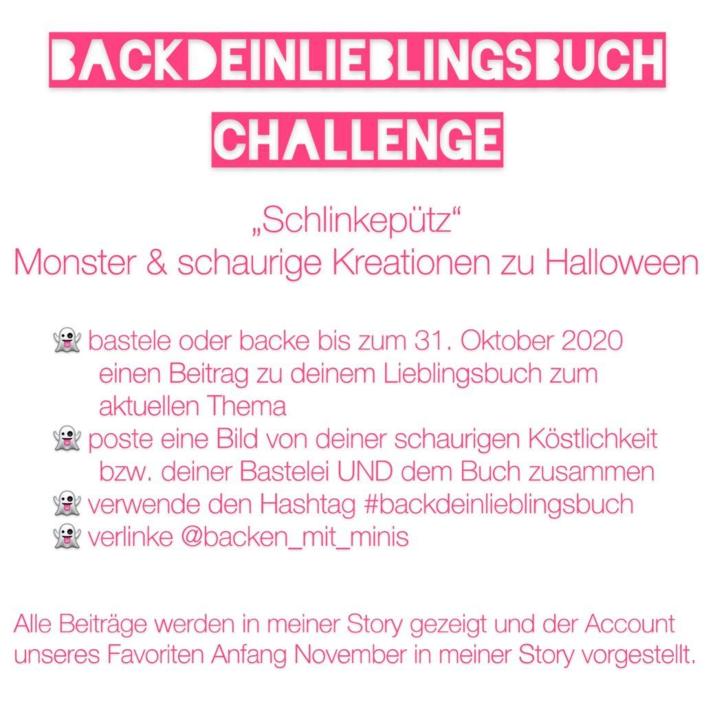 Die Teilnahmebedingungen für die Back' dein Lieblingsbuch Challenge im Oktober zu Halloween